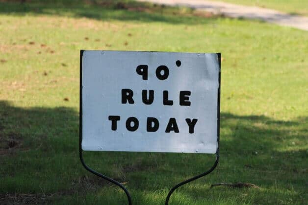what is the 90 degree rule in golf