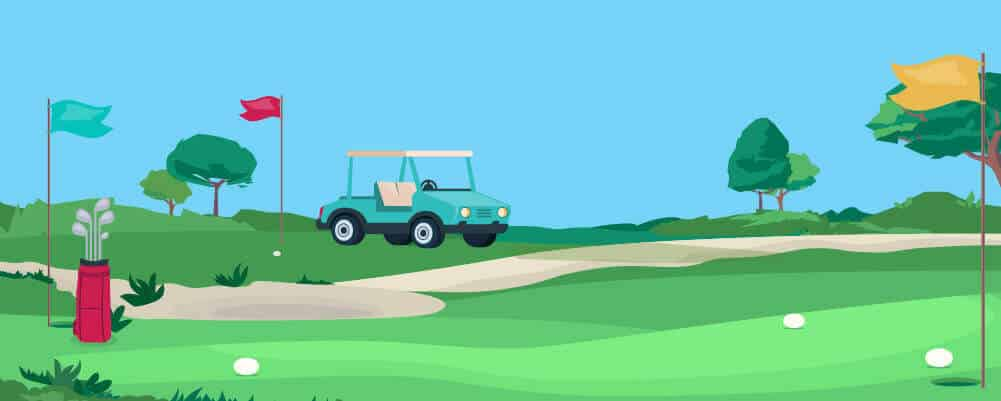 a parked golf cart on the golf course